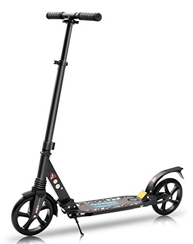Tenboom Adults Scooters, Qucik Folding Big Wheels Kick Scooters for Kids 8 Years Old and Up, Smart Brake System, Height-Adjustable Handlebar Scooters for Teens Adults