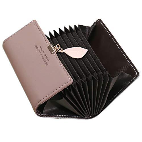 Tarjeteros para Tarjetas de Credito Mujer SAMKING Titular de la Tarjeta de Crédito Carteras de Cuero RFID Monederos con Cremallera (Rosa Profundo)