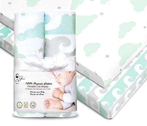 Cambria Baby 100% Organic Cotton Fitted Sheets for Pack 'n Play & Other Portable Mini Cribs. Fits on Playards & Mattresses up to 5 in Thick. Mint Gray Wave and Cloud Patterns. 2 Pack