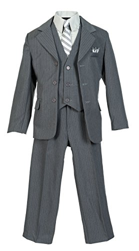 Boys Pinstripe Suit Set with Matching Tie LTGY 12 Light Gray