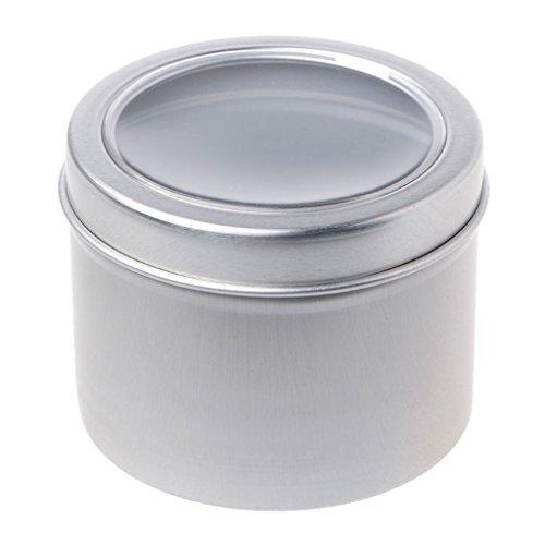 Zhichy 25/60 ml Redondo Transparente Ventana Latas Almacenamiento, Especias Joyero Caja Contenedor de Aluminio Caja de Contenedor Mini Contenedor de Metal Bisagrado Flip Caja de Estaño