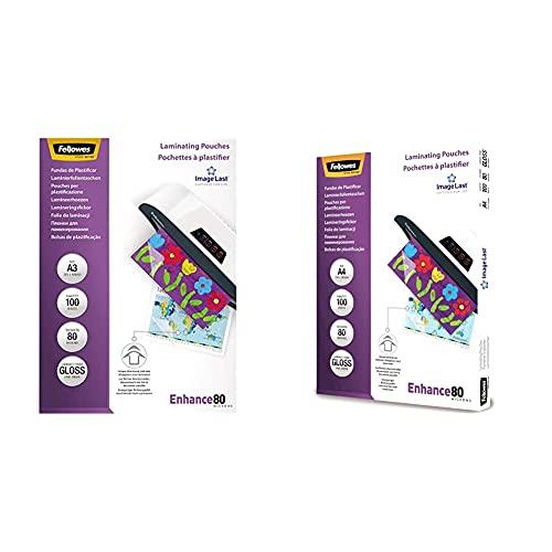Fellowes Pochettes de plastification 80 microns A3, pack de 100 pochettes & Pochettes de plastification 80 microns A4, pack de 100 pochettes, haute qualité, finition brillante, 5306114