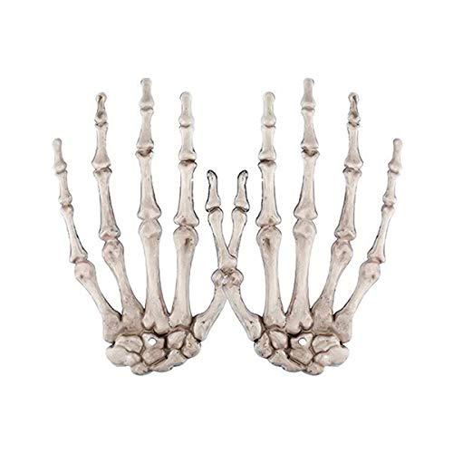 Manos de esqueleto de Halloween de tamaño real de esqueleto de plástico cortadas manos para decoración de fiesta temática de Halloween, 2 piezas (derecha e izquierda)