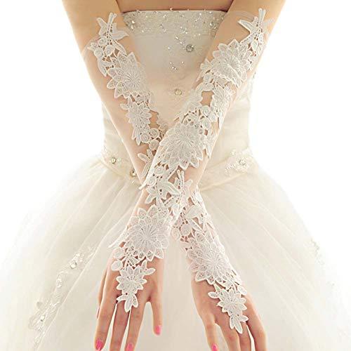Gants de mariée mariage robe de soirée dentelle longs gants A04