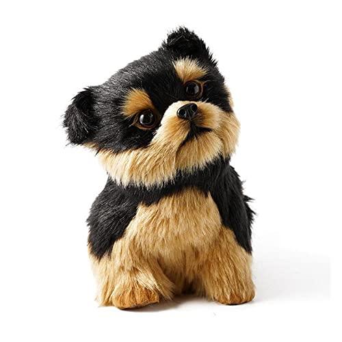 人工毛髪ぬいぐるみの犬のためのペット愛好家の高級ホームDecortionプラスチックシミュレーションスーパーリアルな犬 (Color : Black)