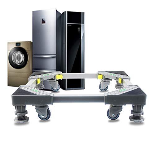 OUBO Sockel Untergestell für Waschmaschine verstellbar beweglicher Basis mit 4 Schwenkräder & Füße Höhenverstellbar Podeste Rahmen für Trockner und Kühlschrank.