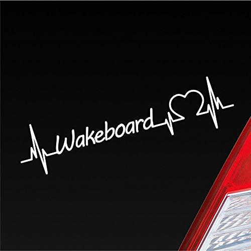 Hellweg Druckerei Auto Aufkleber Wakeboard Herzschlag Wassersport Brett Sport Sticker Liebe Weiß Glanz