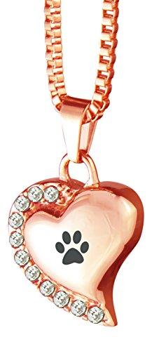 Love to Treasure Collar con colgante de urna de mascota de oro rosa con forma de corazón con...