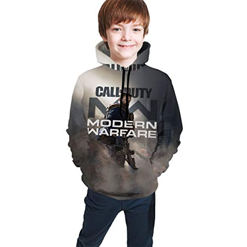 IEUCHEIC Youth Hoodie Pocket Call-of-Duty Modern-Warfare 2019 3D Print Hoodie Sweatshirts for Kids L(14-16) Black