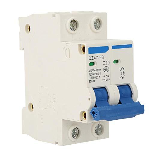 Disyuntor eléctrico, Mini disyuntor, DZ47-63 2 P Disyuntor de corte Disyuntor de seguridad 400VAC, 6A / 10A / 16A / 20A, vida mecánica 20.000 ciclos(20A)