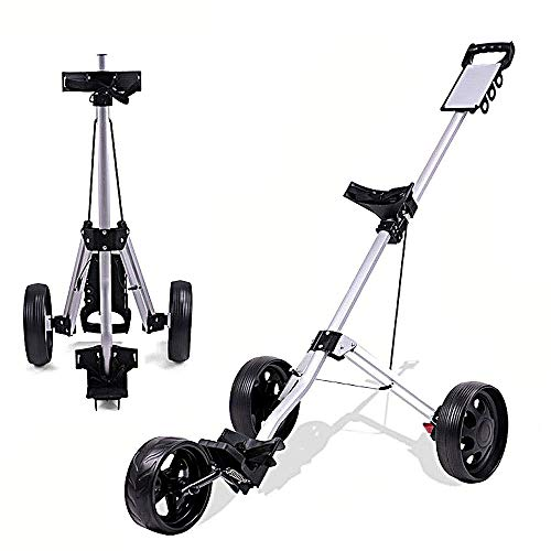 KXDLR Golf Push Cart, 3 Wheel Golf Cart Swivel One Second Folding Golf Trolley with Scoreboard Foot Brake, Push Pull Golf Carts for Golf Clubs Bag Men Women/Kids Practice and Game