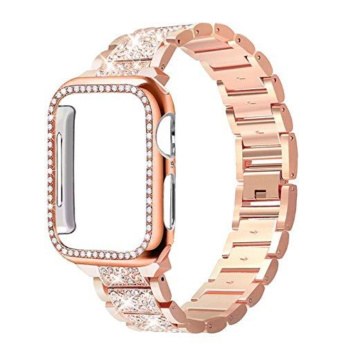 HCKZ La Moda Compatible con Apple Seguir Bandas 38mm 40mm 44mm 42mm, reemplazo de Diamante de la Correa Compatible for iWatch Serie 5/4/3/2/1 Elegante (Color : Rose Gold, Size : 40mm Applies to 4 5)