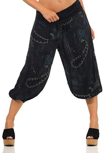 Malito Damen Kurze Aladinhose mit Print | Haremshose zum Tanzen | Pumphose zum Chillen - Freizeithose - Capri 7186 (schwarz)