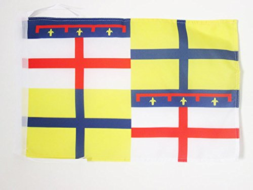 AZ FLAG Bandera de la Region DE Emilia 45x30cm - BANDERINA DE Emilia - Italia 30 x 45 cm cordeles