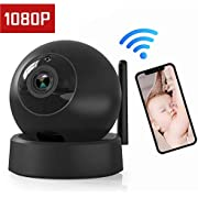 IP Camera - Home Security Camera, Wireless Dome Camera 1080P Surveillance System Remote Monitoring for Baby/Elder/Pet/Nanny Monitor, Pan/Tilt, Two-Way Audio & Night Vision- Black