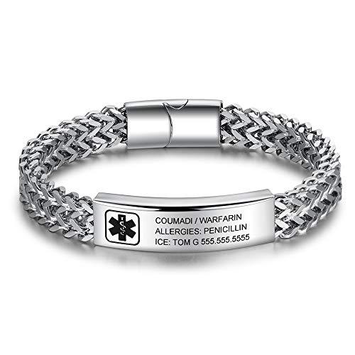 Free Engraved Medical Alert Bracelet for Men Women Emergency Medical Bracelet Stainless Steel ID Alert Bracelet with SOS ICE Emergency for Kids Adults Adjustable (Chain Bracelet)
