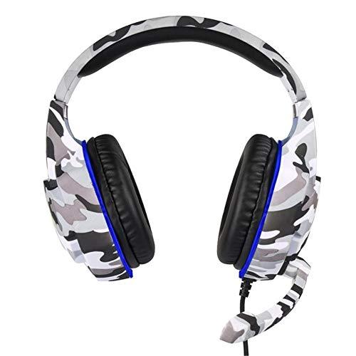 SMAQZ Gaming Headset, Universal 3.5Mm K17 Headphones Gaming Headset con Micrófono Mic LED Luces Auriculares para PC Laptop PS4 Pro,Gris