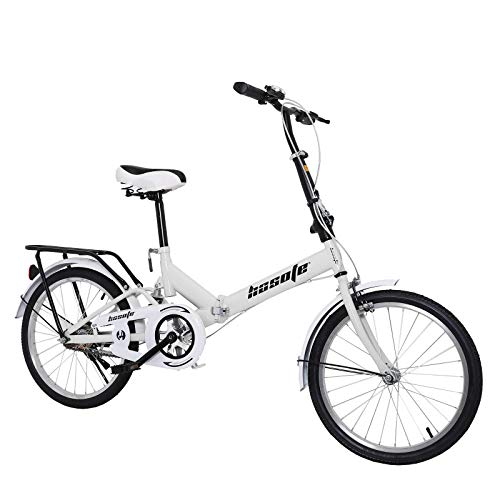 20 inch Folding Bikes for Adults and Teens, Mini Protable City Coummter Bike, High Tensile Complete Cruiser Bikes for Women and Men with Suspension System White