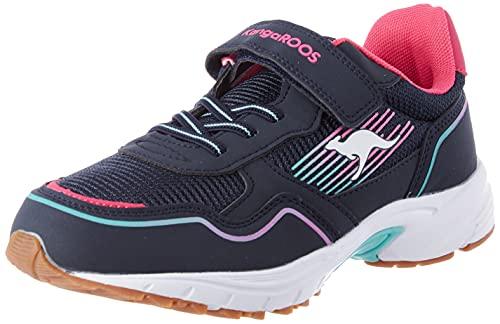 KangaROOS K-Ni Remi EV Mädchen Sneaker, Blau (dark navy/daisy pink), 31 EU