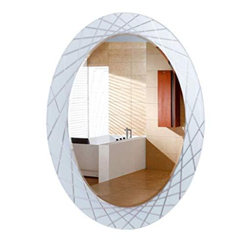 Household Necessities/tuinglas badkamerspiegel ovaal wash HD spiegel wandspiegel badkamerspiegel zilver HD ontvangst cadeau 60X80CM Wit