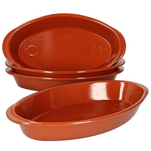 MamboCat 4er Set ovale Auflaufform aus Ton 33x19cm I 1 Liter Schüssel glasiert I Cazuela mit Griff I Tapas Servierschalen Keramik Bräter backofengeeignet I Brotbackform I Mittelalter Geschirr Set