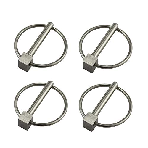 Stainless Steel 316 Lynch pins Linch Pin Dia 6.1mm(1/4In) x L 43.5mm(1-2/3in) with Ring 4 Pack