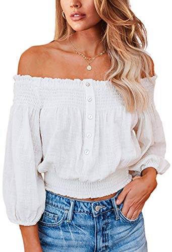 Angashion Women's Tops Sexy Off Shoulder Floral Flare Long Sleeves Printed Cropped Shirt Blouses 2135 White S
