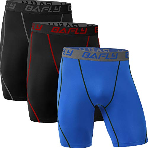 Bafly Men's Compression Shorts Cool Dry Athletic Tights, 3 Pack: Black(gray) Black(red) Royalblue, Medium