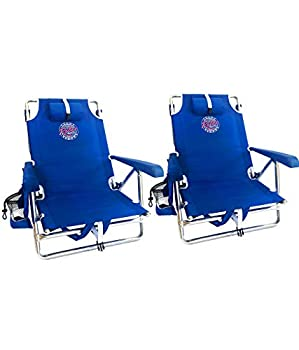 Tommy Bahama Set of 2 Backpack Beach Chairs with Cooler Storage Pouch and Towel Bar