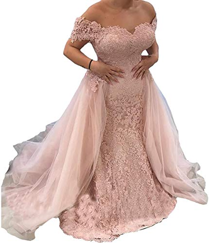 Mermaid Trumpet Off Shoulder lace Bridal Ball Gown Wedding Dresses for Women Bride with Detachable Train Sequins Long Blush Pink