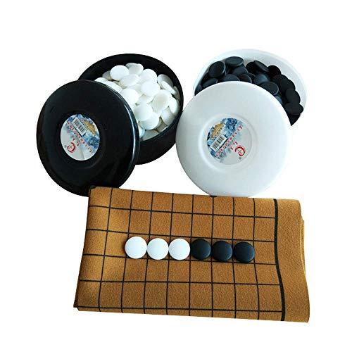 XHH Juego de Tablero de ajedrez Go Juego de Juego con Tablero de Cuero Go Board Piedras y Cuencos de plástico convexos Individuales (Familia de Entretenimiento de Rompecabezas)