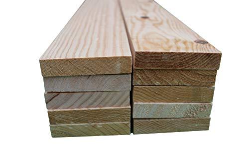 Listones de madera de pino maciza de 120 cm x 9cm x 2.2cm de grosor (10 unidades). Natural en crudo. Para bricolaje, manualidades y carpintería.