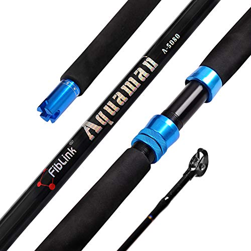 Fiblink 1-Piece Saltwater Offshore Trolling Rod Conventional Boat Rod Carbon Fishing Pole(6-Feet, 30-50lb/50-80lb/80-120lb) (50-80-Pound)