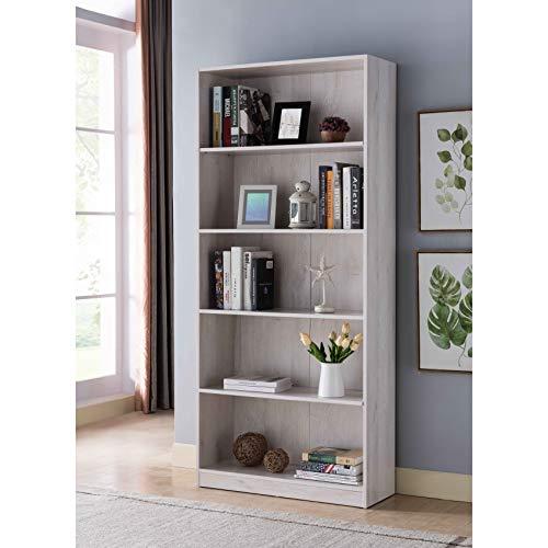 IDUSA Contemporary 5-Shelf Bookcase Freestanding Display Bookshelf for Home and Office, White Oak