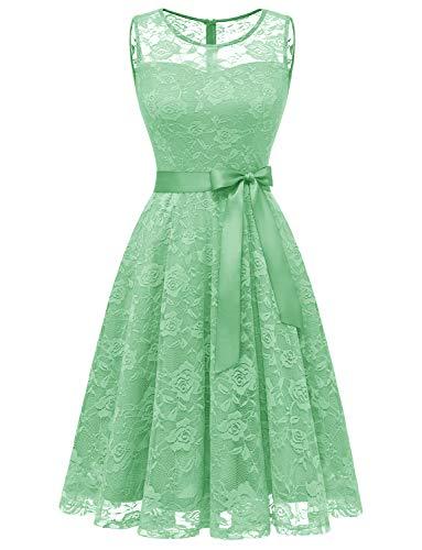 Dressystar DS0009 Abendkleid Ärmellos Kurz Brautjungfern Kleid Spitzen Rundhals Damen Kleider Mintgrün XS