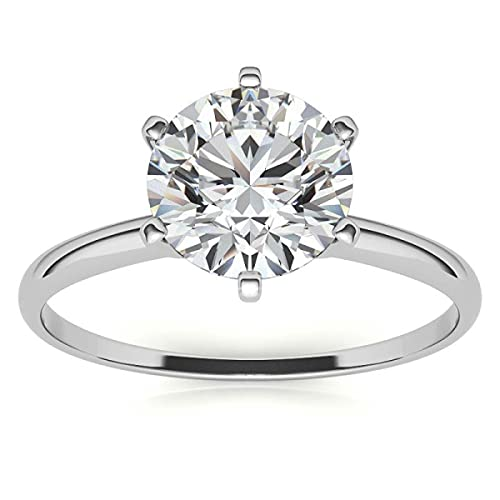 Customize Jewels Anillo de compromiso solitario de moissanita D-VVS de corte redondo de 1 quilates, 6,5 mm, en oro amarillo rosa blanco de 14 quilates, anillo de compromiso de moissanita 7