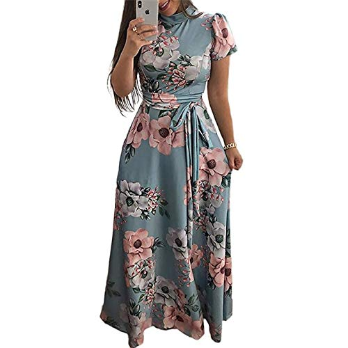 NVDKHXG Vrouwen lange maxi jurk Boho bloemenprint zomerjurk Casual korte mouw coltrui Bandage Bodycon feestjurk Vestidos