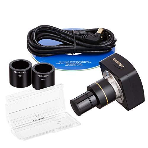 AmScope - Cámara de microscopio digital de montaje en C CMOS de color de alta velocidad de 3MP USB 2.0 con lente de reducción y kit de calibración - MU300-HS-CK