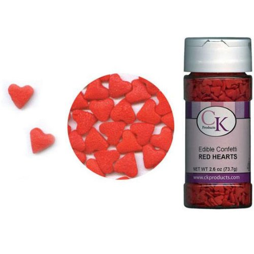 CK Products Edible Confetti Red Hearts 2.6 Ounce Sprinkles