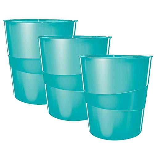 Leitz Papierkorb, 15 Liter, Kunststoff (Eisblau Metallic (3 Stück)