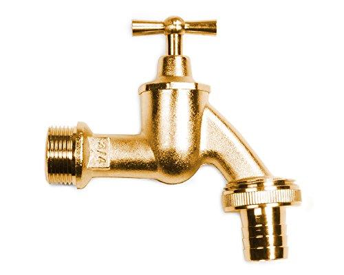 Ondis24 Metall Auslaufhahn für Regentonnen Amphoren Wassertanks 3/4 Zoll Anschluss (Messing)