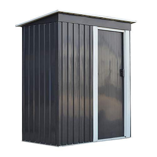 Panana 3 x 5m Metal Garden Storage Shed Box Waterproof Building Foundation with Sliding Door and Free Base Outdoor Furniture Gray