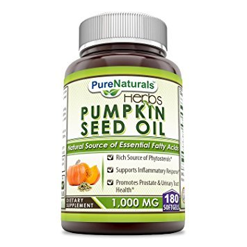 Pure Naturals Pumpkin Seed Oil, 1000 mg 180 Softgels -Supports Inflammatory Response* -Promotes Prostate & Urinary Tract Health* -Rich Source of Phytosterols*