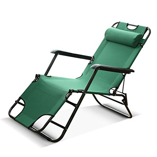 ZEQUAN Bureau déjeuner lit Pliant lit de Camp Plage Chaise Longue Pause déjeuner Paresseux Balcon Chaise (Color : Green)