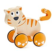 Wooden wheeled cat toy Push down on the wooden cat's back wheels to make send Dante forward or push and pull manually Rubber tubing around wheels makes the wooden toy move faster and smoother along different surfaces Made with wood and perfect for sm...