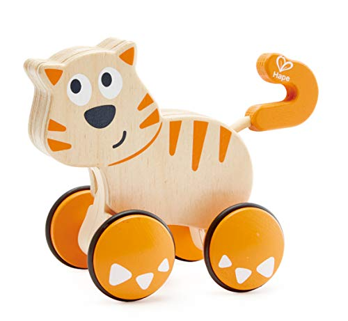 Hape Dante Push and Go |  Wooden Push, Release & Go Cat Toddler Toy with Wheels