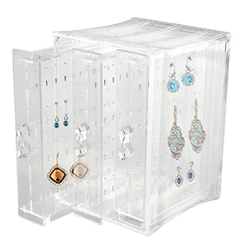 Discoball Acrylic Earrings Holder 3 Panels Dustproof Jewellery Organiser Drawer, Hanging Up to 80 Pairs