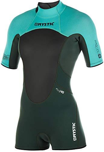 Mystic Watersports - Surf Kitesurf & Windsurfing Damen Brand 3 / 2mm Back Zip Shorty Neoprenanzug Teal - Easy Stretch