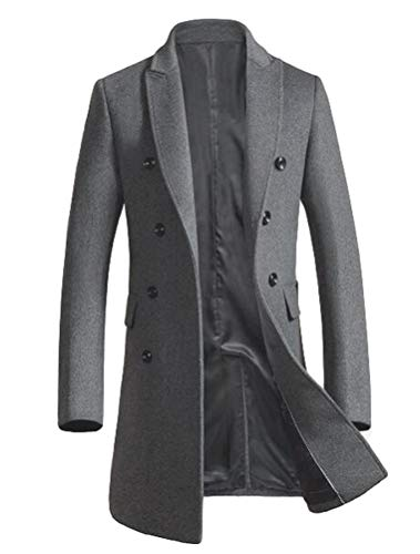 Mordenmiss Men's Premium Double Breasted Woolen Pea Coat Notched Collar Overcoat Dark Gray XL