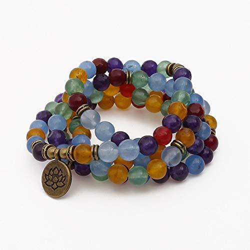 Armband van steen, parelarmband van natuursteen, lotus-Buddha-hanger, Boeddha-hanger, natuur, 108 Jade, Mashan, kleurrijke armband, yoga-armband, armband, armband